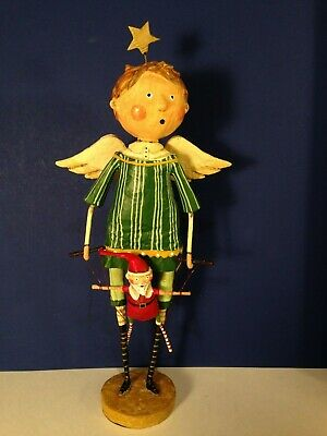 CHRISTMAS PUPPETEER Angel w. Santa Puppet Lori Mitchell Large figurine NEW!
