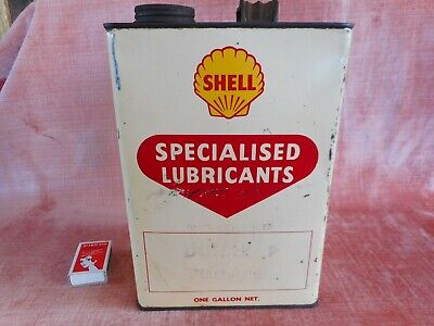 Old Vintage Shell 1 Gallon Motor Oil Tin Can 1950S Car Garage