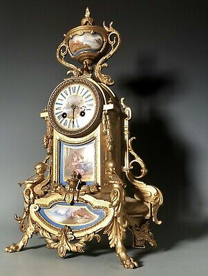 Ormolu and Sevres Porcelain Antique French Clock