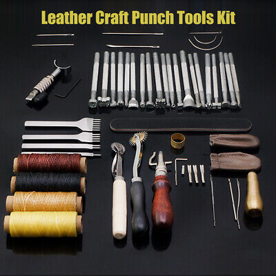 45Pcs Leather Working Saddle Making Tools Carving Leather Craft Stamps Set UK