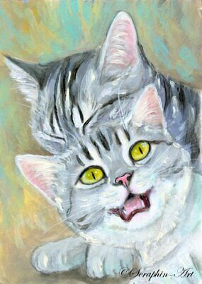 Original ACEO Miniature Acrylic Painting Playful Kitten Grey Cat Seraphin-Art
