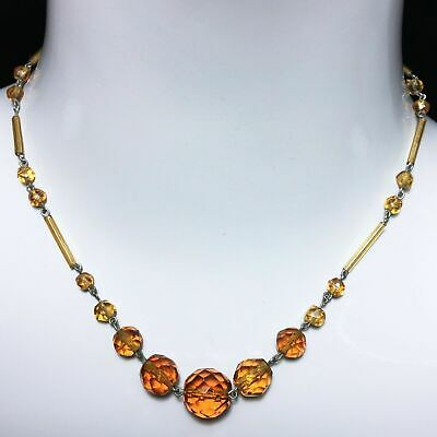 Vintage 20s Art Deco Amber Faceted Crystal Austrian Bohemian Glass Bead Necklace