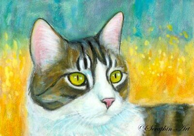 Original ACEO Painting Kitten Pencil Watercolor Tabby Garden Cat Seraphin-Art