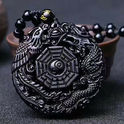 Retro Black Obsidian Carving Yin Yang Wolf Dragon Phoenix Necklace Lucky Pendant