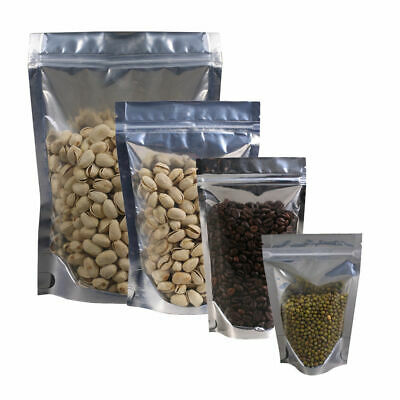 Silver/Gold  Clear Stand Up Aluminum Foil Mylar Foil Bags Zip lock Food Pouches