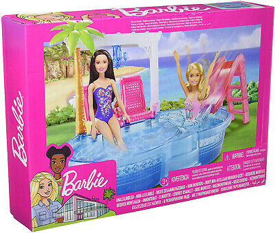 Barbie Pool Playset Dolls Girls Childrens Toys Games Sets Clothes Accessories