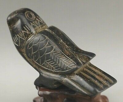 Chinese old natural jade hand-carved statue bird phenix 3.7 inch