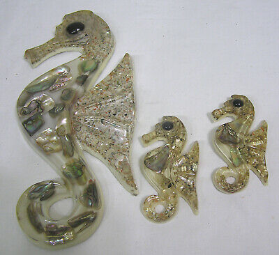 Vtg Set THREE Lucite and Abalone Seahorse Wall Plaques Lge 2 Sm Design Gifts
