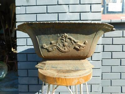 Huge 70cm Victorian Ornate Cast Iron Planter Garden Trough Pot c1880s