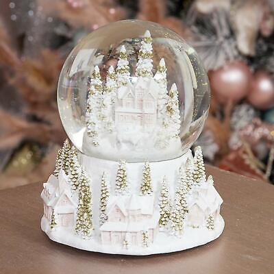 Stunning White & Gold Village Scene Christmas Snowglobe Waterball