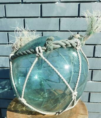 Genuine Vintage Glass Fishing Float with Original Rope Netting