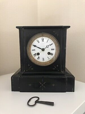 Superb Antique Slate Striking Mantle Pendulum Clock + Key