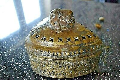 Antique French Bronze Casket Dog  With Spike Teeth Very Heavy Solid Bronze