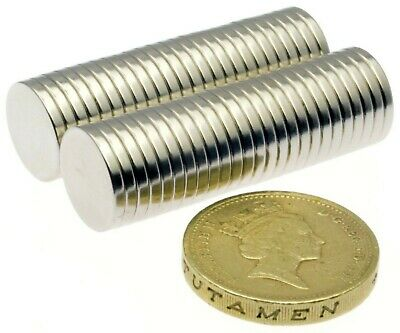 """Strong Neodymium Magnets (1/2"""" x 1/16"""") * Pull force 1.2Kg * Powerful Disc 12mm"""