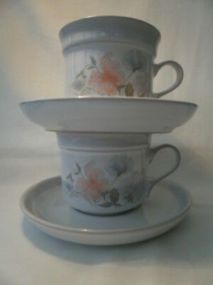 DENBY Stoneware Dauphine Sweetpea TEA/COFFEE CUP AND SAUCER X 2 VGC