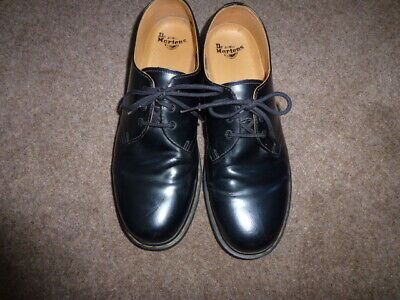 Mens Black Lace-Up Dr Martens Airwair Leather Upper Shoes Size 13 Wide Fitting