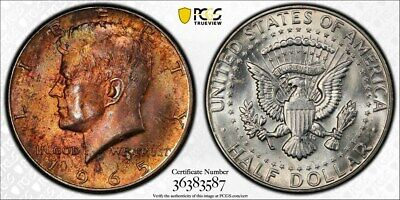1965 PCGS MS64 Colorful Toned Kennedy Half Dollar with a TrueView (xx39)