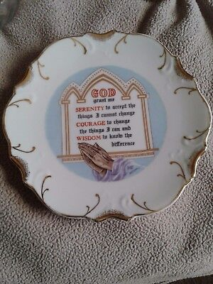 """Mid-State Serenity. Prayer18K gold trim collectors Hanging Plate VGC 8-1/4"""" 2450"""