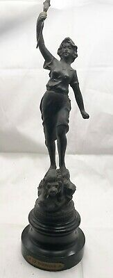 "Antique Bronzed Spelter Figure Le Pouvoir "" The Power"" Lion Lady Statue Ornament"