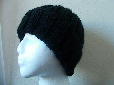 Hand knitted warm and cozy wool blend beanie/hat, black, men's or women's
