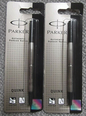 x2 GENUINE PARKER ROLLERBALL REFILLS - 'M' BLACK - SEALED - FRANCE - PARKER