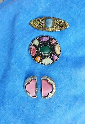 Lovely mixed jewellery old antique vintage job lot brooches clip ons Turquoise