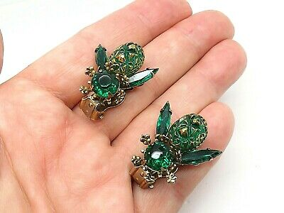 Emerald Green Gold Rhinestone Carved Art Glass Bee Wasp Figural Clip Earrings