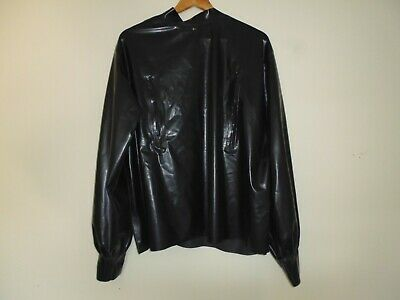Latex Rubber blouse with short back zip and chest zips Black Gummi XL