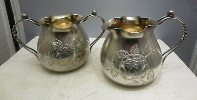Silver Plate Wilcox Engraved Sugar Bowl & Cream Pitcher