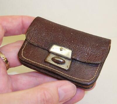 SMALL Vintage/Antique COIN PURSE Brown Leather VICTORIAN or EDWARDIAN