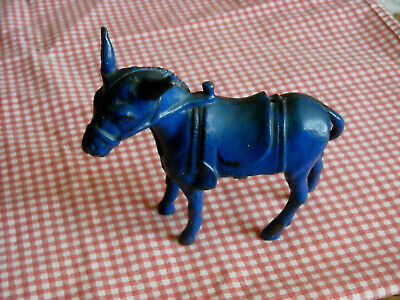 Original Antique Vtg Cast Iron Blue Arcade Mule Donkey Still Penny Bank