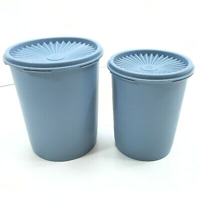 2 Vintage Tupperware Country Blue Canister Container W/ Lids 809-14,  811-4