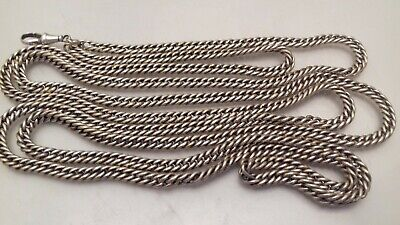 Antique Silver Plated Long Muff Guard Chain + Clip