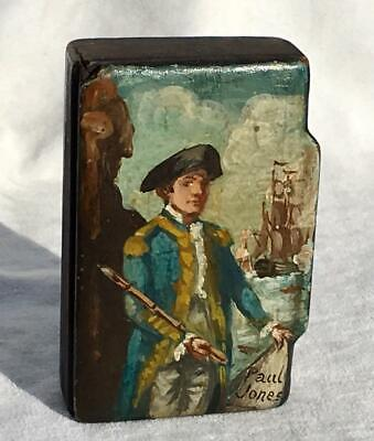 "Antique Victorian Papier Mache Snuff Box Hand Painted Naval Officer ""Paul Jones"""