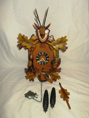 Black Forest Germany Cuckoo Clock For Parts With Deer Head