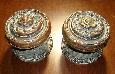 Gorgeous Original Antique Bronze Door handle pair Classic French style 7 lbs