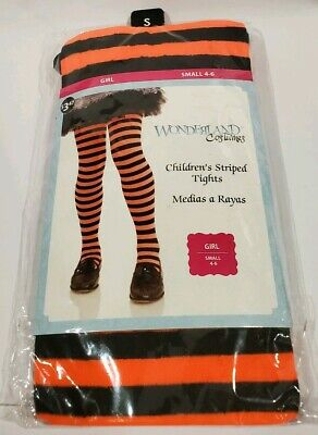 Wonderland Costumes Children's Striped Girls Tights 4-6 yrs Orange & Black New