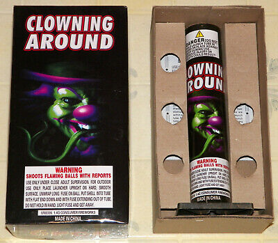"""""""Clowning Around"""" Empty Collectible Fireworks Box With Unused 11"""" Launch Tube!!"""