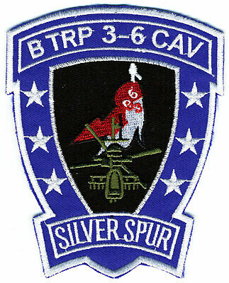 US Army Patch: B Troop 3rd Squadron 6th Cavalry Brigade  Silver Spur AH-64