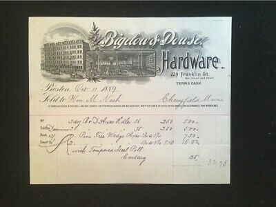 1889 Used Billhead Bigelow & Dowse Boston Ma Hardware Illus Store Interior