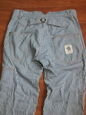 Rare Red Wite Blue Pinstripe Jeans Handmade Trousers Nicely Worn Pants 30X31