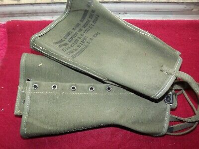 Vintage WWII US Army Canvas Military Spats 12-3-1944  Boot Covers Leggings