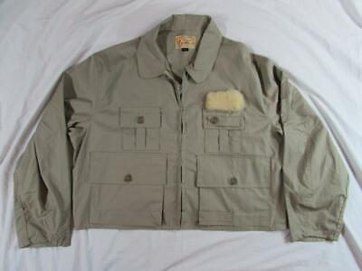 Vtg 50s 60s Allen Fly Fishing Hunting Jacket Outdoor XL W/ Game Pouch Cotton