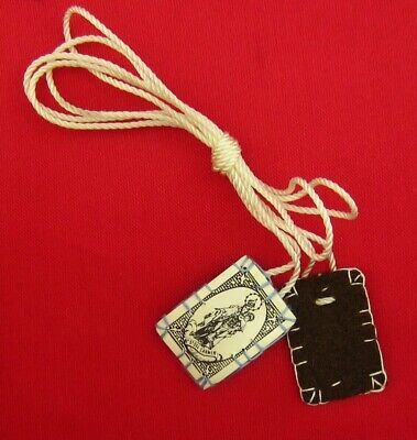 Vintage Mini Brown Scapular Jesus & Mary Our Lady Of Mount Carmel Scapular