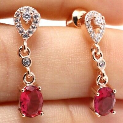 Elegant 3 Ct Red Oval Ruby Diamond Stud Earrings 14K Rose Gold Plated Jewelry