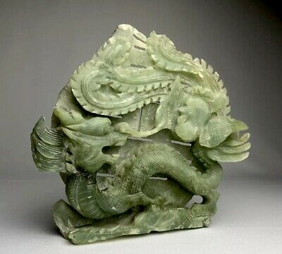 Large Chinese Intricately Carved Jade Hardstone Dragon Statue