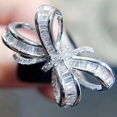 1Ct 100% Natural Diamond 14K White Gold Butterfly Cocktail Ring WR183-1