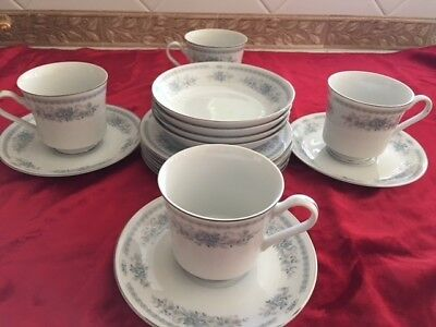 16 Pc Christine Blue Flower  Fine Porcelain China Japan Cups Saucers Bread Berry