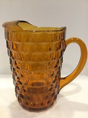 Indiana Glass WHITEHALL AMERICAN Colony AMBER Cubist WATER PITCHER.