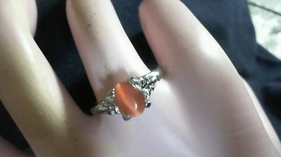 Sterling SILVER Plated Orange Tigers Eye ring (size 5.5)  vv 22 9/15/19